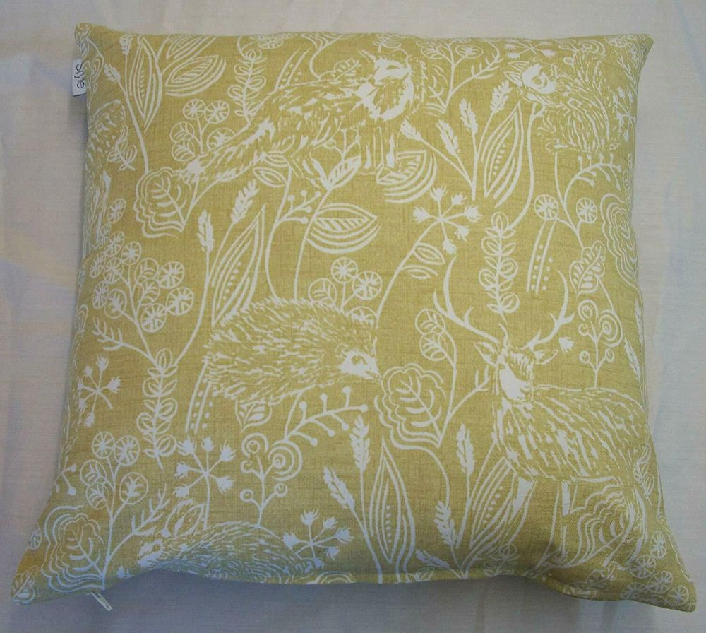 Mustard Gold Hedgehog Fox Rabbit Woodlands Wildlife Linen